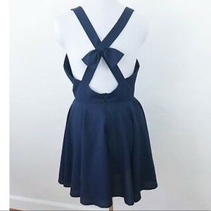 Backless Navy Fit & Flare Dress